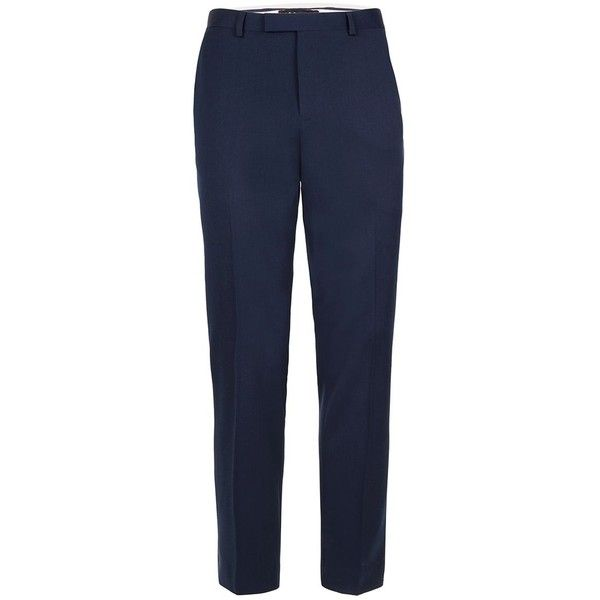 TOPMAN Blue Muscle Fit Suit Trousers (£50) ❤ liked on Polyvore featuring men's fashion, men's clothing, men's pants, men's dress pants, blue, mens blue dress pants, mens stretch pants, mens blue pants, mens stretch dress pants and mens zipper pants