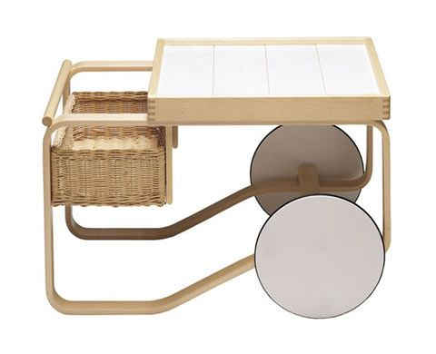 tea trolley 900  Design Alvar Aalto, 1937  Bent birch plywood, tile, rattan  Made in Finland by Artek