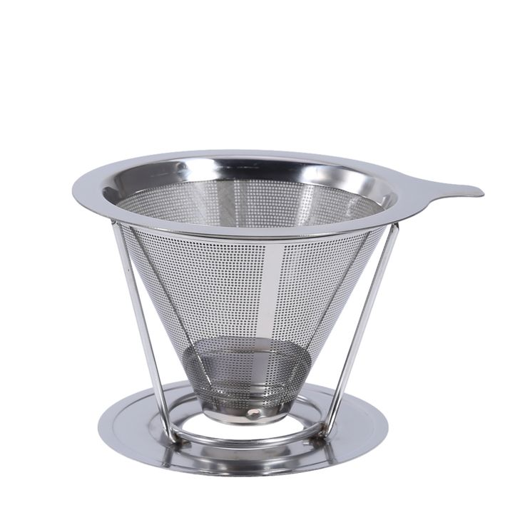 Reusable Stainless Steel Tea Coffee Filter Baskets Metal Mesh Cone Funnel Brew Drip Coffee Filter