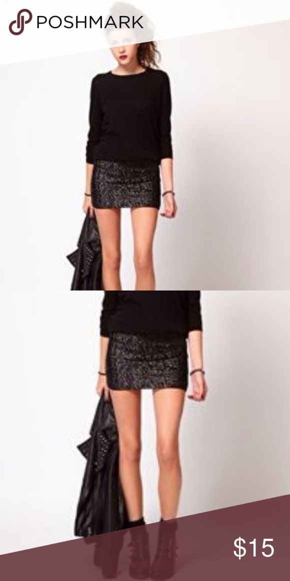 ✨NYE✨ Black sequin mini skirt Beautiful black sequin side zip mini skirt. In perfect condition, brand new with tags. Very fun and eye catching statement skirt! Perfect for the upcoming holidays, can be dressed up or down. Pair with a black slouchy sweater, leather moto jacket and black leather booties as pictured. Price is firm. Will add more photos tonight. Forever 21 Skirts Mini
