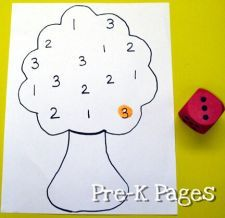 Roll the dice and use a bingo dabber to cover the number you rolled.