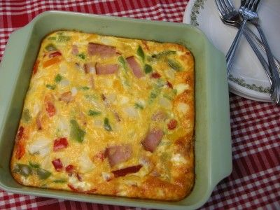 Baked Omelette...we had breakfast for dinner last night and this was the main dish, along with bacon and fruit salad! So yummy!