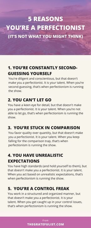 So many women think that to let go of perfectionism means having to let go of being type A or of being organized. And that causes anxiety (it would for me!). No wonder we're so stuck in perfectionism. No wonder we're so conflicted about letting go of our perfectionism. To help you untangle this false belief even further, here are 5 reasons you're a perfectionist (and it's not what you might think). Click through to read the entire blog post.