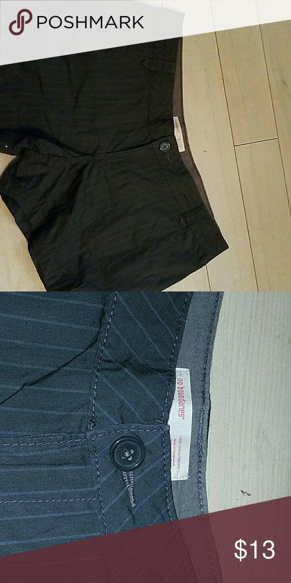 Juniors shorts Dark grey pin strip shorts . Brand new No Boundaries Shorts