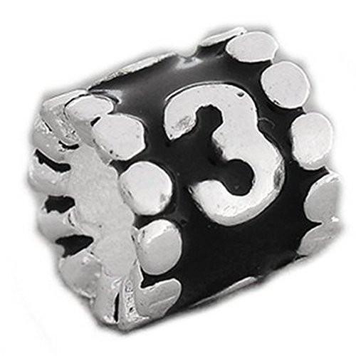 "Black Enamel Number ""3"" Charm Compatible With European Snake Chain Charm Bracel"