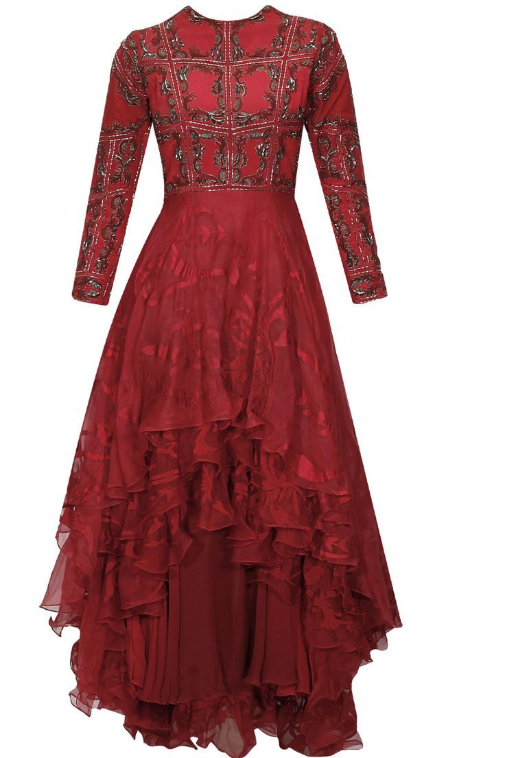 Red block print embellished asymmetrical layered gown dress available only at Pernia's Pop Up Shop.#perniaspopupshop #shopnow #KARTIKEYA#clothing#partyseason #happyshopping #designer