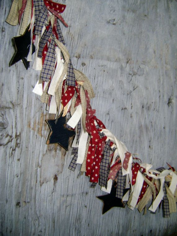 Patriotic Fabric Rag Garland with wood Stars Raggy Banner Burgundy Navy Cream Prim Rustic rag banner. $36.00, via Etsy.
