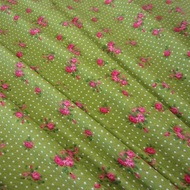 Stoff Rosen - Stoff BW Jersey grün Punkte Röschen rosa pink - ein Designerstück von werthers-stoffe bei DaWanda