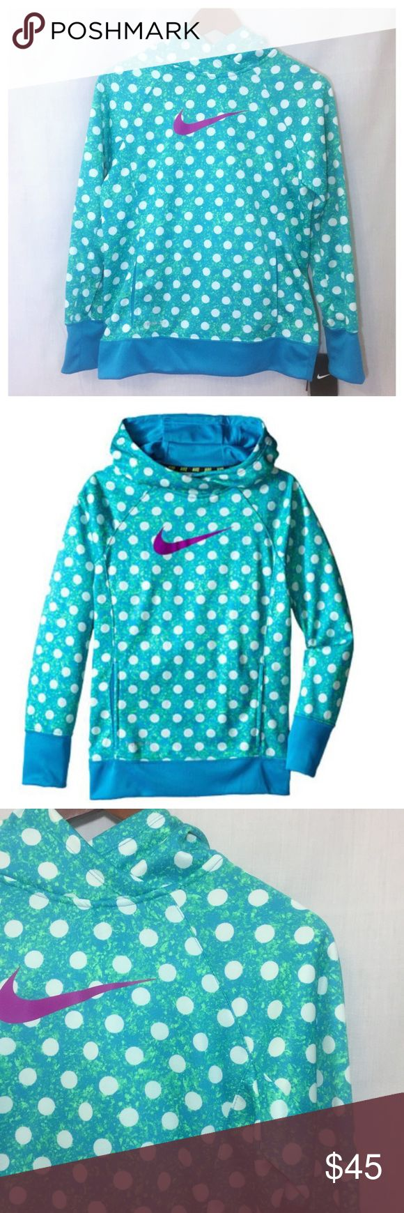"Girl's Nike Hoodie Therma Fit Blue Polka Dot Sz XL NWT Big Girl's Nike Hoodie Therma Fit Blue Polka Dot  • Sz XL • Therma fit helps keep you warm and insulated • Onseam kangaroo pockets • 19"" bust, measured flat • 24"" length • New with tags Nike Shirts & Tops Sweatshirts & Hoodies"