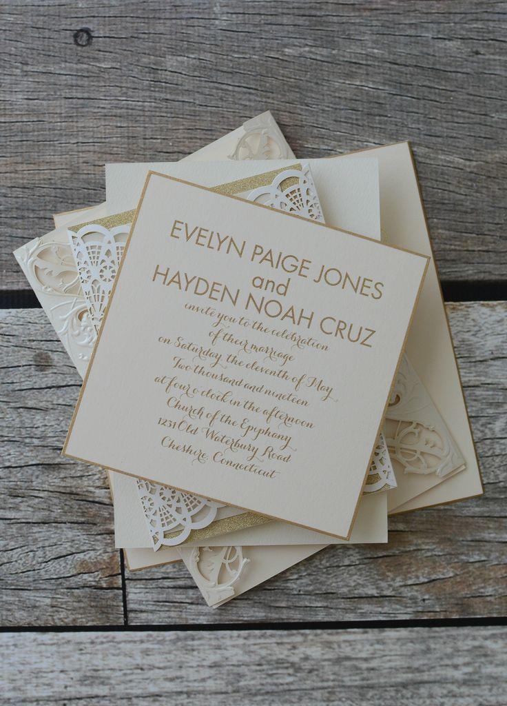 laser cut wedding invites canada%0A Elegant gold wedding invitations I goldtrim  lasercut  raised ink