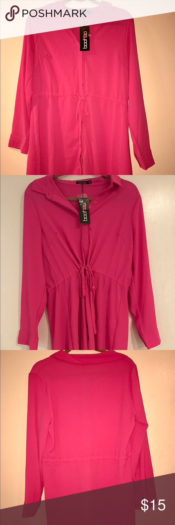 Boohoo Tie Front Hot Pink Shirt Dress Hot pink. Adjustable tie to cinch waist. Long sleeves. Perfect for work, class, or running errands! Definitely can be dressed up or down! Boohoo Dresses