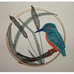 geklöppelter Eisvogel als Fensterbild - Geschenk für die Spreewaldomi