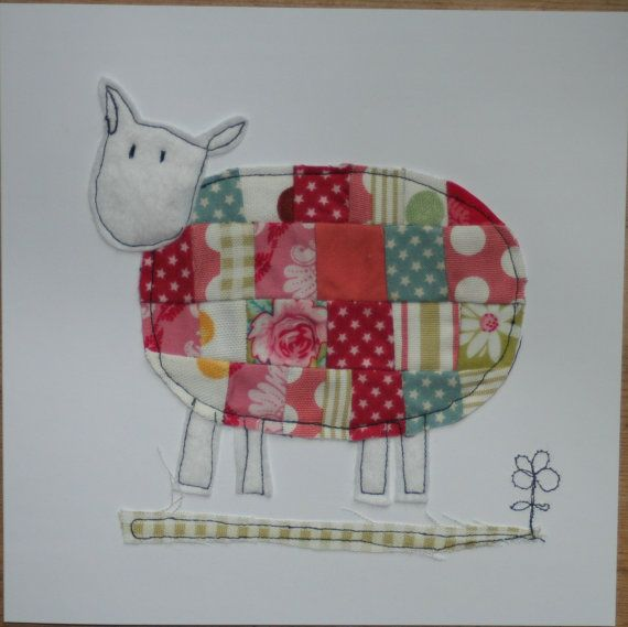 Patchwork machine embroidered sheep card