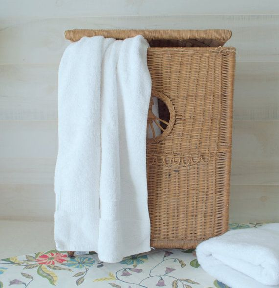 Wicker Laundry Hamper with Lid Wicker Laundry by 2ndHandChicc