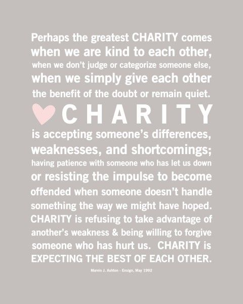 Charity..something my family has taught me so much about and something I will never forget. Reading these words sound just like my aunts, mom, and grandma in my ear telling me to always be the best person I can be. These are the women I aspire to be like, Im so glad I get to call them family