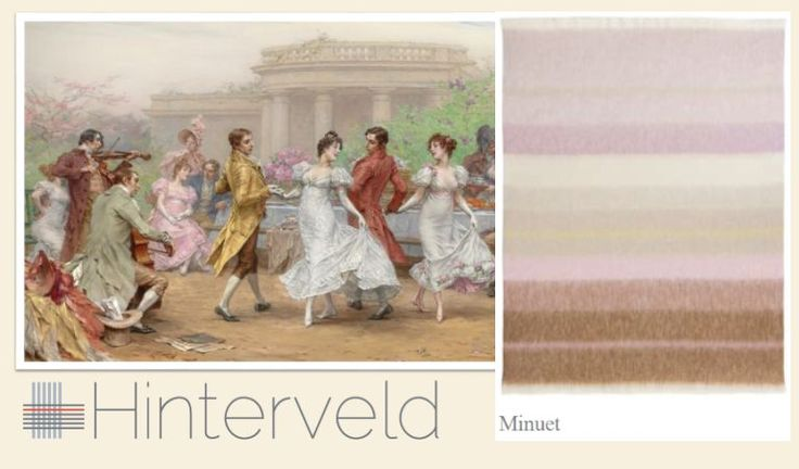 Rhapsody's - Minuet design was inspired by  Kaemmerer, Frederik Hendrik - The Minuet.  This throw was woven with a blend of Alpaca and Silk yarn.