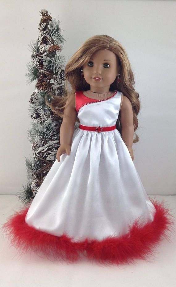 "Christmas Dress and Shoes  for 18"" dolls like American Girl, Mj's"