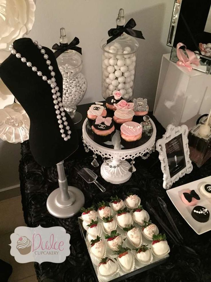 COCO Chanel inspired birthday party dessert table