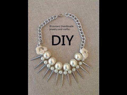 Pearl and spikes necklace diy, tutorial,collar de perlas - YouTube