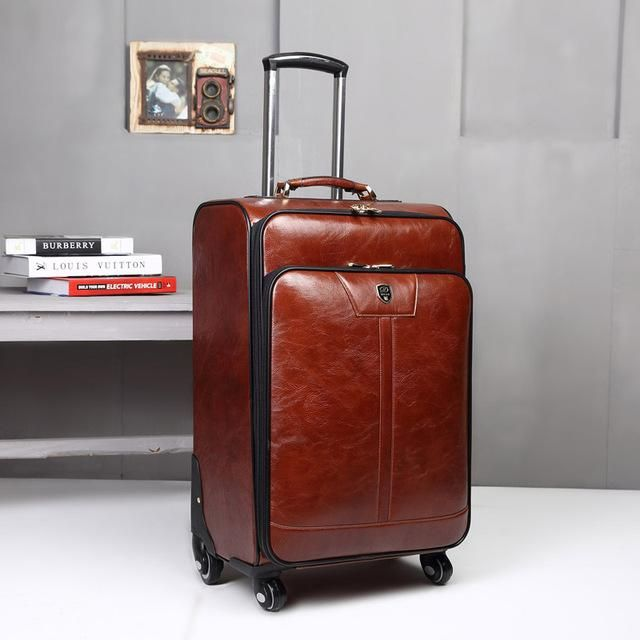 Letrend New Fashion Luxury Man Women 20 inch Rolling Luggage Business Trolley PU Leather Trunk Boarding Box Suitcases Travel 338