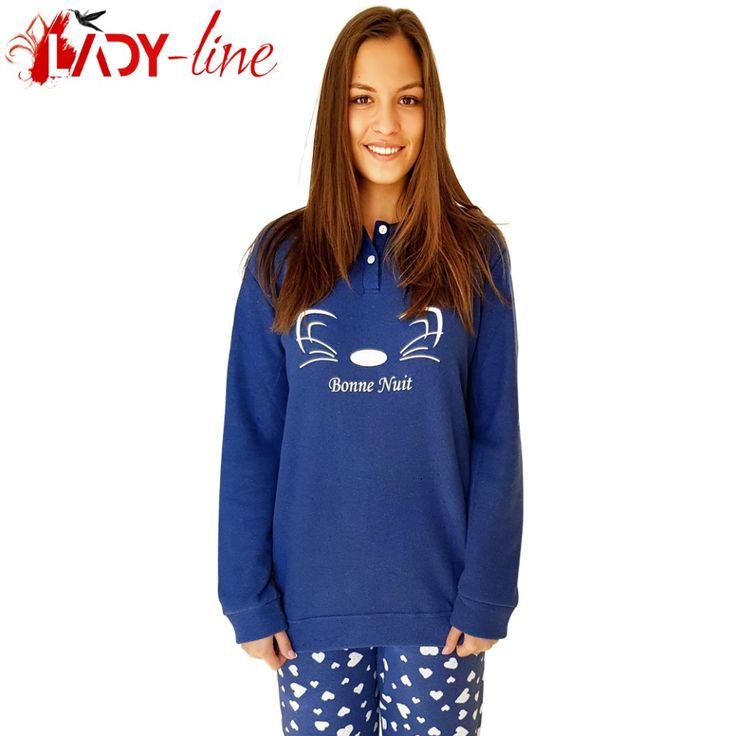 Poze Pijamale Calduroase Dama, Brand 'Senso', 'Bonne Nuit Chaton' Bleu