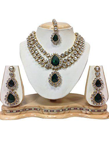 Indian Bollywood Design Dark Green Stones White CZ Kundan... https://www.amazon.com/dp/B01KC09V4I/ref=cm_sw_r_pi_dp_x_UsrZybYCF2RBQ