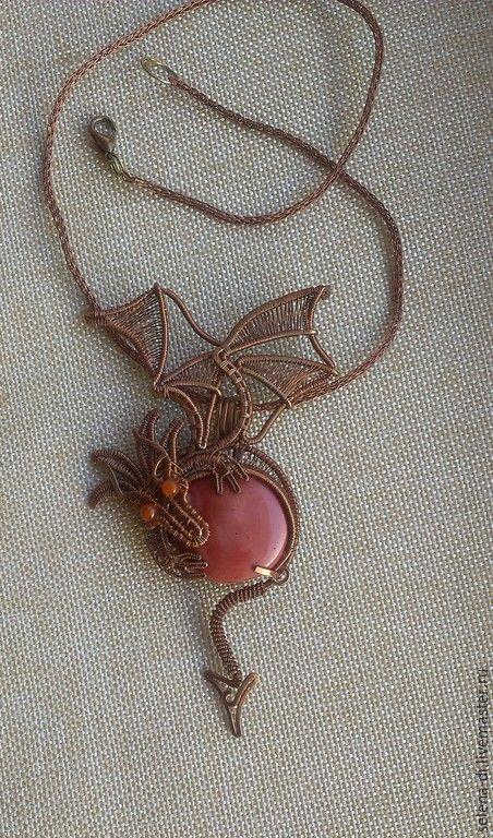 Купить Кулон Солнечный дракон - розовый, яшма, кулон дракон, фэнтези, готика, животные