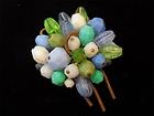 VINTAGE - Pretty, Pale Blue/Green/White Faceted Beaded Cluster BROOCH