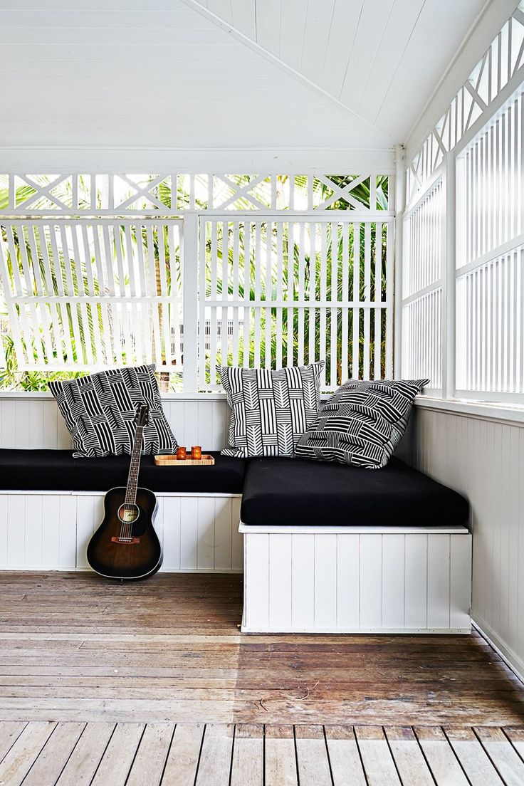 "Kimberly and Stephen's Byron Bay beach house:A day bed, complete with cushions from [Country Road](http://www.countryroad.com.au/|target=""_blank"") is ideal for a snooze, or music time – the boys play guitar. Slatted shutters allow for both fresh air and privacy."