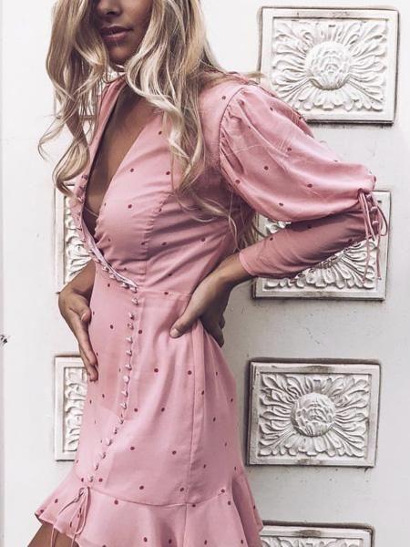 c52317811f Pink V-neck Polka Dot Print Puff Sleeve Women Mini Dress – risechic.com