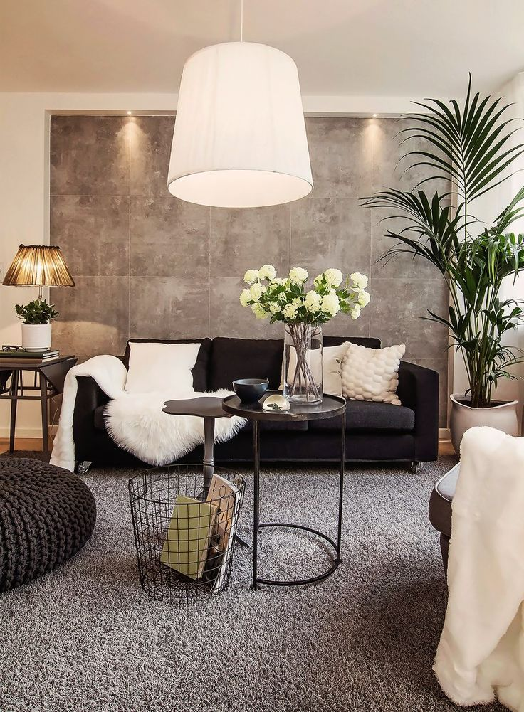 living room inspiration: black couch with neutral pillows, sheepskin rug or throw, big green plant, big bean bag-like chair, wire basket for magazines, huge painting (SIMPLE) lighted, huge simple rug (matches or coordinates with painting):