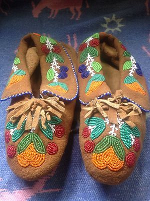 Vintage Metis Native Indian Beadwork Moccasins Moose Hide | eBay