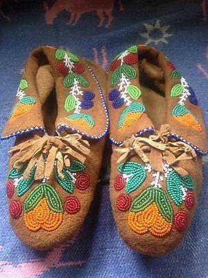 Vintage Metis Native Indian Beadwork Moccasins Moose Hide | eBay