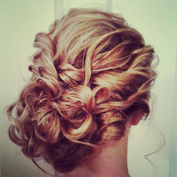 Hair by ramsaymarstonhair.com., loose side bun.romanic curls.