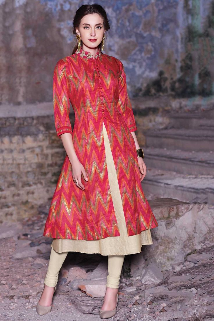 Samyakk Red Silk Printed Anarkali Kurti
