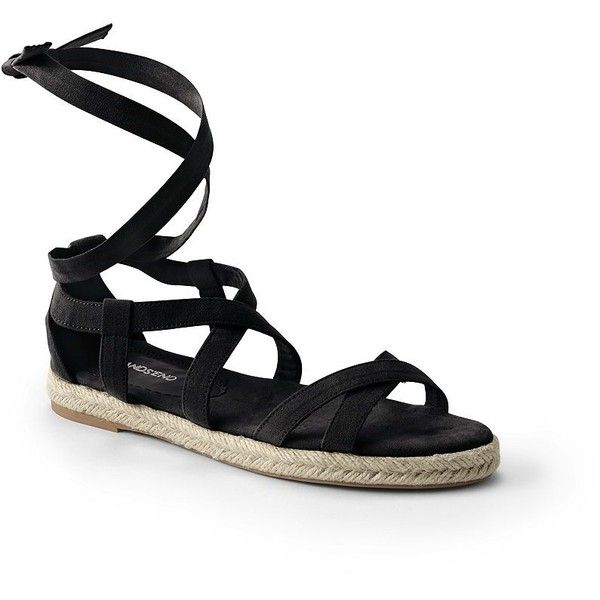 Lands' End Women's Espadrille Gladiator Sandals ($60) ❤ liked on Polyvore featuring shoes, sandals, black, kohl shoes, lands end sandals, black sandals, roman gladiator sandals and espadrilles shoes