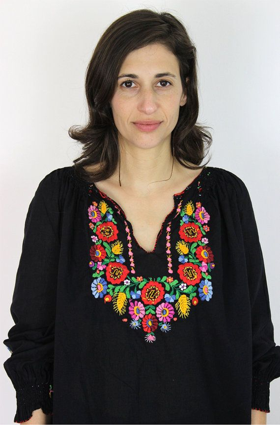 Hungarian embroidery blouse / embroidered by PaintYourWagonShop