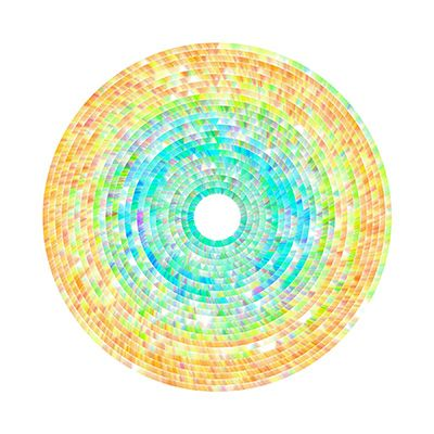 Mark Nystrom, Wind Drawing   This drawing's process uses rings to represent one hour of wind data. Within the rings, triangles drawn with thin transparent lines represent individual seconds. Color relates to wind direction and line thickness relates to wind speed. Wind direction is mapped to the RGB color wheel with red meaning winds were from the north, green from the east, blue from the south and purple from the west.