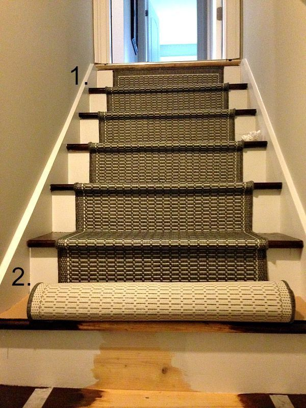 How to install a runner on a set of unfinished pine carpenter's stairs.  Often in homes where the stairs were designed to have carpet, the builder built a simple set of pine stairs.  This is a great redo!