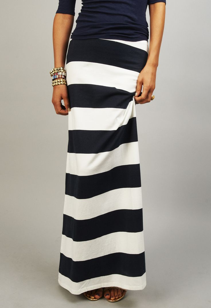 Stripe Maxi Skirt  Everyone should have a maxi skirt.  If you are uncomfortable with stripes go with all black; slimming and classy :)