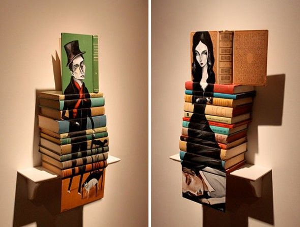 Painting on books, by Mike Stilkey