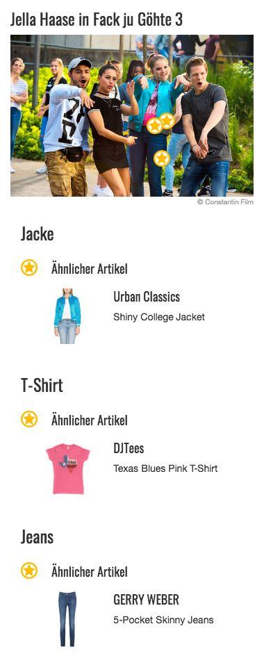 """Das Statement-Teil im Outfit von Chantal (Jella Haase) ist im dritten Teil von """"Fack Ju Göhte"""" definitiv ihre blau schimmernde Jacke im College-Style. Sie lässt sich vorne mit einer Knopfleiste schließen und verfügt über silberne Bündchen an den Ärmeln, am Kragen und am Saum. Dank ihres auffälligen Farbtons passt sie perfekt zu Chantals auffälligem Look und wird von der Schülerin gern und oft getragen."""