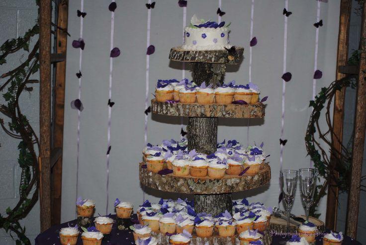 homemade cupcake stand | HOMEMADE TREE BARK CUPCAKE STAND FOR WEDDING