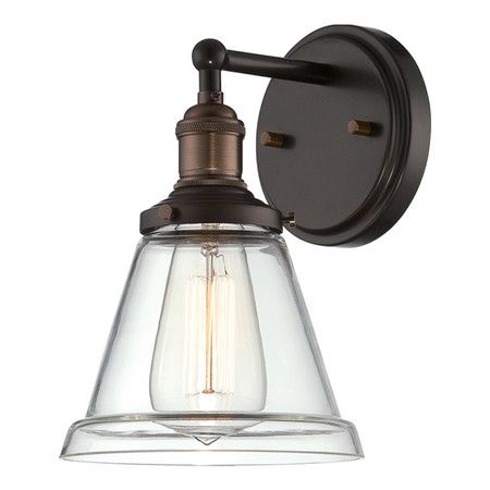 With a flaring glass shade highlighted by an Edison bulb, this vintaged wall sconce is a stylish addition to your master suite or study. ...