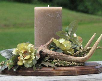 Rustic Deer Antler Flower Arrangement Silk Flower Camo Wedding Centerpiece  Rustic Lodge Decor Man Cave Decor