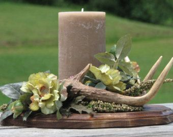 Rustic Deer Antler Flower Arrangement Silk Flower Camo Wedding Centerpiece Rustic Lodge Decor Man Cave Decor Real Antlers textured candle
