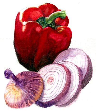Watercolor :: Still Life :: Vegetables :: Painting :: Red Pepper and Onion…
