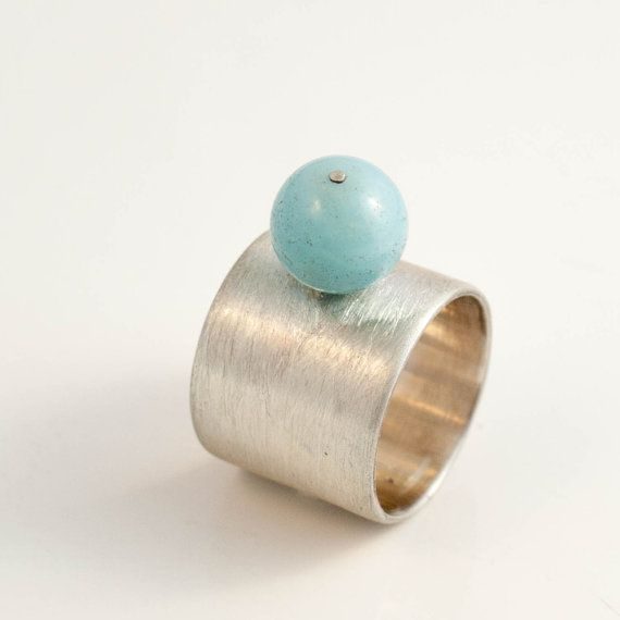 amazon light blue ball ocean sterling silver ring by banou on Etsy