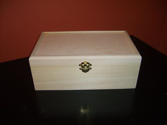 Unfinished Wood Box with Hinges & Latch-10 3/4x7 1/4 x4-unfinished wood box-ready to finish-engravable wood box-personalized laser engraving