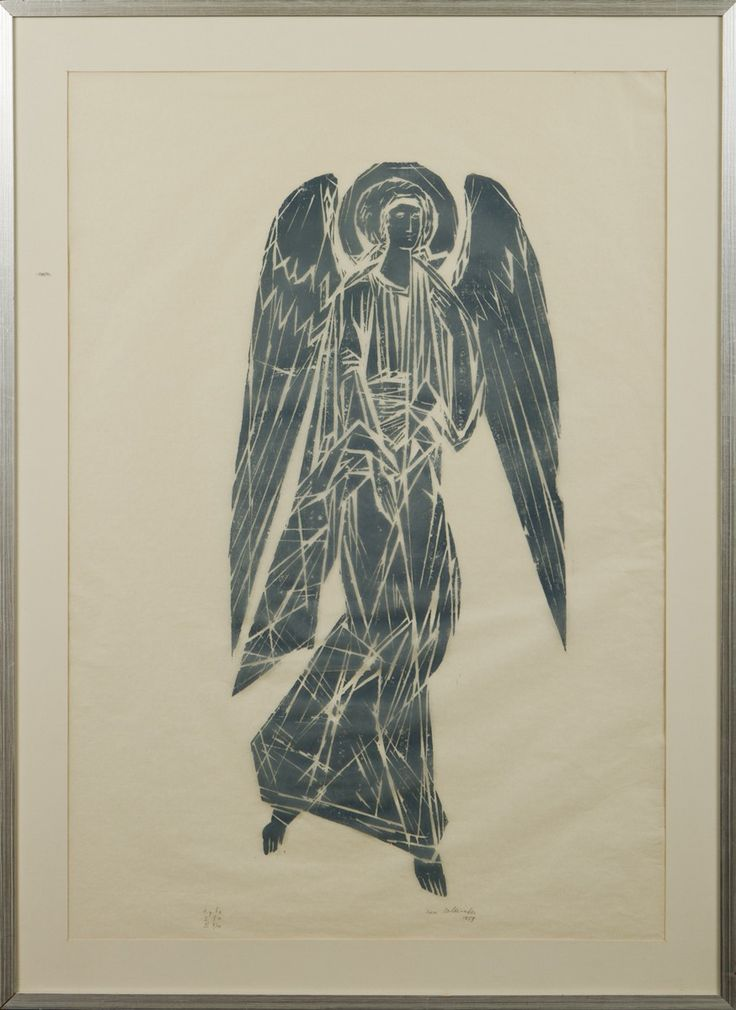 Ina Colliander: Enkeli, 1959, puupiirros, 80x55 cm - Hagelstam A129